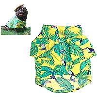 Meioro Ropa para mascotas Ropa para perros Cómoda camisa de perro Estilo hawaiano Estilo de vida costera Material de algodón Cachorro Bulldog francés Pug (Yellow-S)
