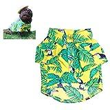 Meioro Abbigliamento per animali Vestiti per cani Comodo cane Camicia stile hawaiano Zona di mare Stile Cotone Materiale Cucciolo Bulldog francese Pug (Yellow-L)