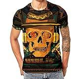 Skull Themed Series Mens 3D Druck Terro Skull Lässige Kurzarm Shirt Top Bluse,Schwarz Gelb,XXXL