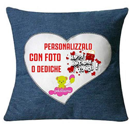 Brollogroup cuscino jeans 40x40 cm personalizzabile foto o frasi ps 09380 gadget personalizzato