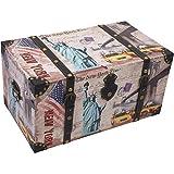 Holztruhe Truhe New York mit Riemen 49x24,5x28cm Holzkiste Schatzkiste Schatztruhe Aufbewahrungskiste Aufbewahrung Aufbewahrungstruhe