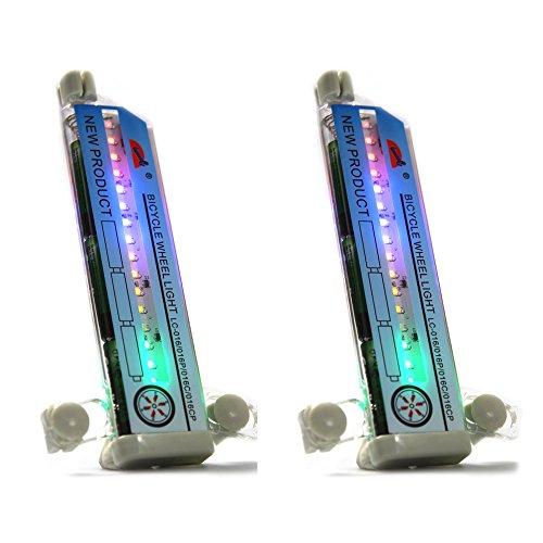 COM-FOUR® 32 LED Fahrrad Rad Licht leuchtet in verschiedenen Mustern bunt LC-016