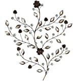 Pacific Home Bronze and Silver Leaves with Acrylic Beads Stem and Flower Metal Wall Art