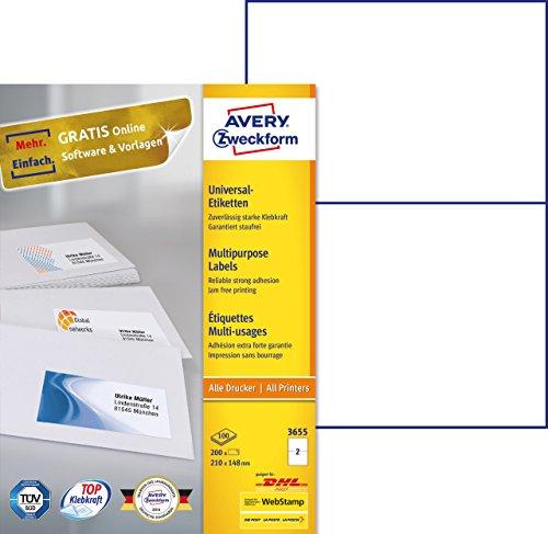 einfacher kopierer Avery Zweckform 3655 Universal-Etiketten (A4, Papier matt, 200 Etiketten, 210 x 148 mm) 100 Blatt weiß