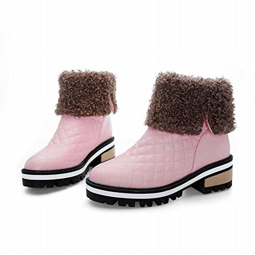 Damen kurzschaft Shoes Schneestiefel Mee heels Shoes chunky Pink Mee Plateau 7Tq7wt