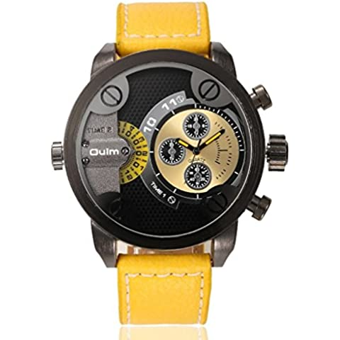 pkaty da uomo Sport Doppio fuso orario cinturino in pelle con movimento giapponese al quarzo polso watches-yellow