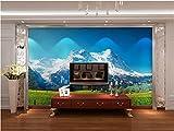 Mbwlkj Personnalisé 3D Papier Peint Murale Moderne En Trois Dimensions Salon Chambre Toile De Fond Tv Alpes Suisses Paysages 3D Photo Papier Peint-350cmx245cm...
