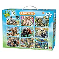 King 5327 9 in 1 Animal Jigsaw Puzzle Children in Suitcase, Multicolour