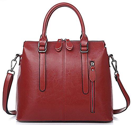Oruil Frau italienischen weichen Leder Handtaschen Damen Designer Leder Doppel Zip Handtaschen Schultertasche Tote Bag(Rot) (Leder Tote-doppel-griff)