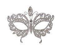Una maschera d' argento che è impostato con cristalli austriaci di alta qualità. La maschera si fissa alla parte posteriore con un nastro che è già collegato. che non vi deluderà con la qualità di questa maschera, è top notch. Dimensioni appr...