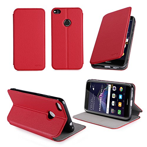 Ultra Slim Tasche Leder Style Huawei Ascend P8 Lite 2017 4G Dual Sim Hülle rot Cover mit Stand - Zubehör Etui Huawei Ascend P8 LITE 2017 Flip Case Schutzhülle (PU Leder, Red) - XEPTIO accessoires