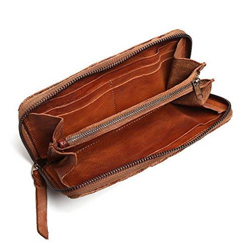 H&W Vintage Geflochten Leder Reißverschluss Closed Brieftasche Braun Bräunen