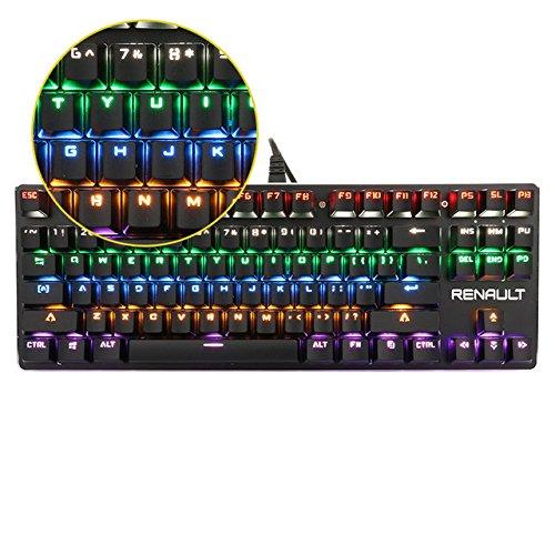 Htacsa tastiera meccanica con retroilluminazione colorata interruttore blu 87/104 chiavi professional led tastiera gaming,87 tastiera per pc e laptop gamer
