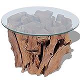 vidaXL Teak Treibholz Massivholz Beistelltisch Couchtisch mit Glasplatte 60 cm