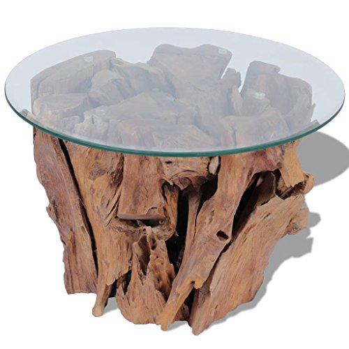 vidaXL Massivholz Teak Beistelltisch 60 cm Couchtisch Glasplatte Kaffeetisch