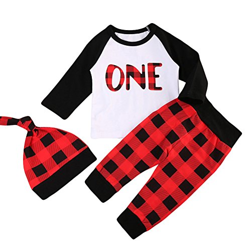 Baby-Jungen-Mädchen-wildes EIN T-Shirt mit roter Büffel-Plaid-Hosen-ersten Geburtstags-Ausstattungen (Red, 18-24 Months)