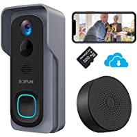 Timbre Inalámbrico con Cámara, BOIFUN HD 1080P Video Timbre Inteligente WiFi, IP66 Exterior Impermeable, Batería de 6700mAh, Visión Nocturna, Comunicación Bidireccional [Tarjeta SD 32G Instalada]