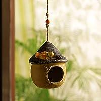 ExclusiveLane 'Swinging Cottage' Handmade and Handpainted Terracotta Bird House (Sand Yellow and Dark Brown, 6 Inch)