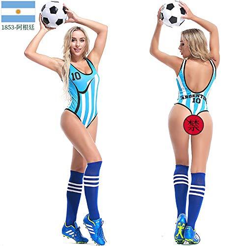 MCO%SISTSR Cheerleader-Kostüm,Frauen Cheerleader Uniform Sexy Erwachsenen Overall Cosplay Kostüm Sport Wettbewerb Tanz Gymnastik Leistung,Argentinien,M