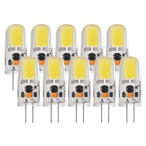 Sunix 10pcs 5W G4 COB LED, 270-300lm, dimmerabile, bianco freddo, 6000K, 360 gradi angolo del fascio, cristallo lampadina del riflettore LD861 [Classe energetica A +] - 7000 Corpo