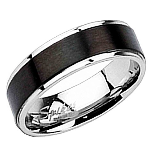 Piersando Band Ring Edelstahl mit Schwarz Inlay gebürstet Silber Bandring Ehering Partnerring Damen Herren Größe 57 (18.1) - Inlay Onyx Ring Black