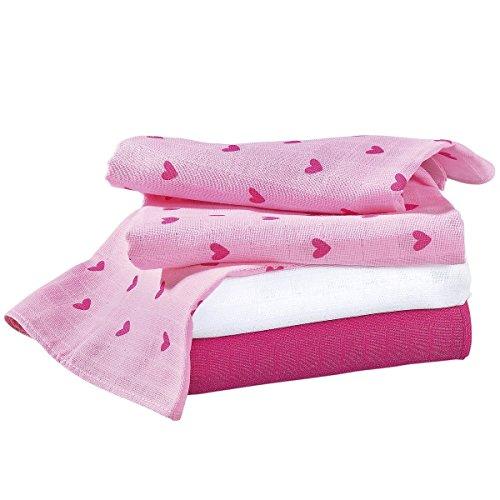 (3er-Pack) Herz Basics Baby Mullwindeln 80x80 cm - saugstark - rosé/weiß ()