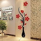 Mondial-fete – Vase und Blumen, 3D Spiegel, Acryl, selbstklebend, 100 x 39 cm