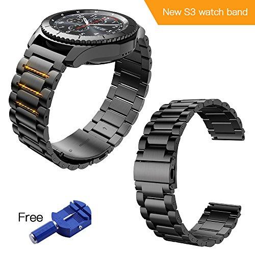 Kulink Samsung Gear S3 Uhrenarmband, Edelstahl, 22 mm, Ersatzband, mit gratis Pin/Uhrenglied-Entfernungswerkzeug Schwarz,S3,S4