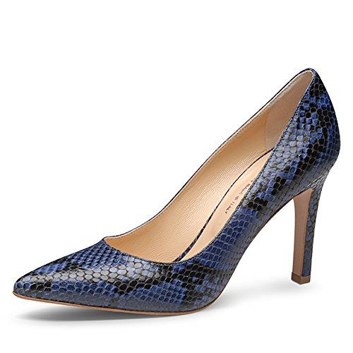 ILARIA Damen Pumps Pythonprägung Blau
