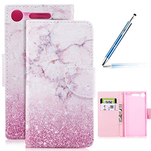 Sony Xperia XZ1 Compact Hülle,Sony Xperia XZ1 Compact Leder Hülle,Robinsoni Flip Wallet Case Cover...