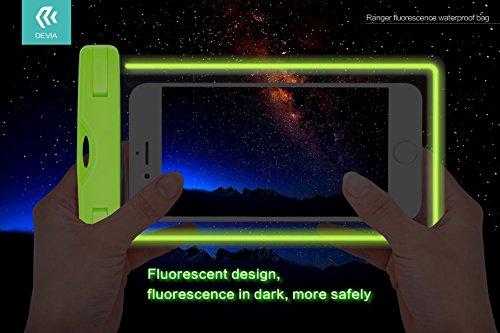 devia Étui étanche, 0,8mm fluo universel étanche sac sec Touch pour iPhone, iPhone et smartphone et autres ci-dessous 14cm pour randonnée/natation/de plongée Fluorescent - Pink