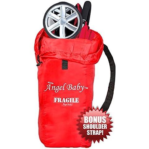Bolsa de viaje Angel Baby para carritos plegables - Con DOBLE poliéster DURADERO Y FUERTE con asa bandolera de regalo, resistente al agua, ligero - Genial para pasar en los embarque de vuelos y
