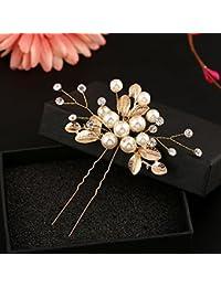 Xuniu Clip de Boda de Novia Vintage, Perlas de imitación de la Flor Pernos de Pelo Clip de Dama de Honor Side Combs Gold 8.5x9.5cm