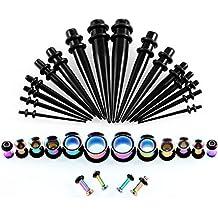 Huacan 36 Piezas Dilatador y Dilatación oreja Set 1.6-10mm Punk Acero quirutgico y Acrilico