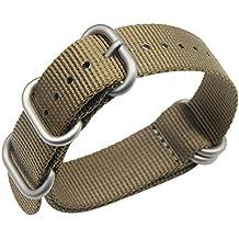 22mm color caqui Premium Deluxe estilo de la NATO robusto exótica nylon suave tipo Reloj pulsera de los hombres del deporte