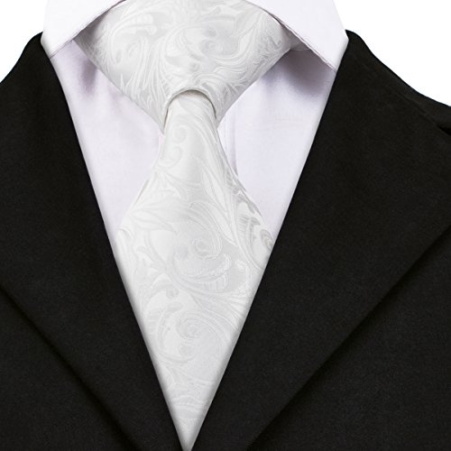 hi-tie Herren florale gewebte Seiden-Krawatte Taschentuch Manschettenknöpfe Set Gr. Einheitsgröße, weiß (Designer Seidenkrawatte Italienische)