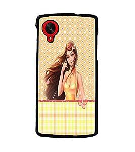 PrintDhaba Cute Girl D-3502 Back Case Cover for LG GOOGLE NEXUS 5 (Multi-Coloured)