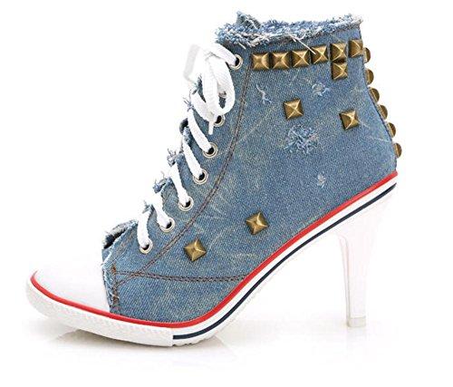 Ex Heels Rivets De Cow-boy Toile Chaussures Dentelle Casual Chaussures Ascenseur Chaussures Mme Automne Bleu