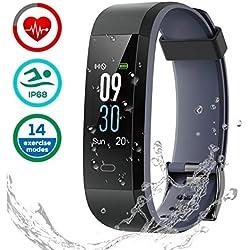 Pulsera de Actividad, LATEC Pulsera Inteligente Fitness Tracker Pulsómetros IP68 Impermeable