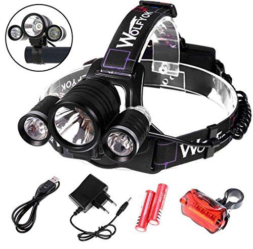 Wolfyok 5000 Lumen LED Aluminium Kopflampe / Fahrradbeleuchtung Set, 3X CREE XM-L XML T6, Super Helle Wasserdichte, 4 Modi Stirnlampe für Outdoor Reiten Nachtangeln Wandern Camping + Fahrrad Rücklicht Fahrradbeleuchtung 5000 Lumen