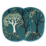 Flicken Bäume gold metallic 2 Hosenflicken 12 x 10 cm zum aufbügeln Wald Knieflicken petrol für Mädchen große Bügelflicken für Kinder von flickli