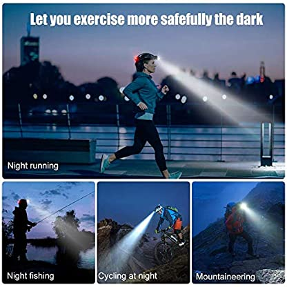 HOKEKI Headlamp, USB Rechargeable LED Head Lamp, Adjustable Headband 4 Modes Grade, IPX4 Waterproof for Jogging, Hiking, Dog Walking, Hunting 6