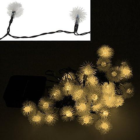 Smartfox 30er LED Solar Schneeflocken Lichterkette in Warmweiß