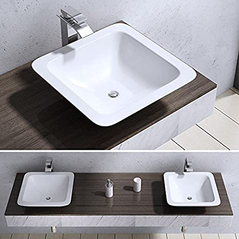 Durovin Bathroom Square Solid Mineral Cast Stone Shelf Countertop Basin Sink 803