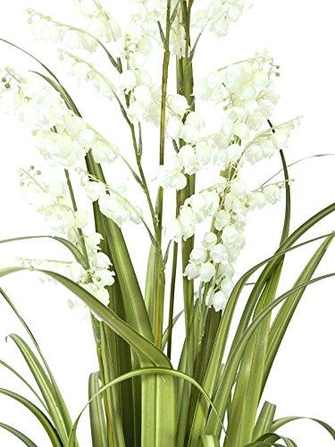 artplants – Künstliche Glockenblume mit Schilfgras, 5 Blüten-Rispen, weiß, 105 cm – Künstliches Gras/Kunstblumen