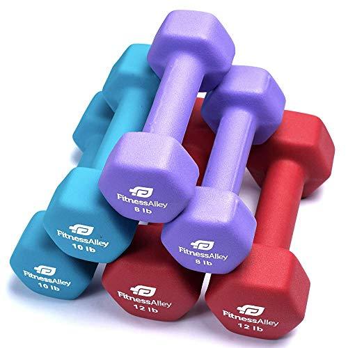 Fitness Alley Neopren Hantel 3Paar Set Beschichtet für Rutschfeste Grip-Hex Hanteln Gewicht Set-Neopren Hand, Gewicht Paar-Hex Hand Gewichte Neopren Hanteln Combo (9LB, 11LB, 13LB)