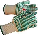 #1 Grill Gloves Withstand Heat up to 932°F - Premium Barbecue & Oven Heat Resistant Gloves - Set of 2 Kitchen Gloves Insulated By Aramid with 100% Cotton Lining Provides Super Comfort for BBQ - Use As Oven Mitt, Pot Holders, Baking, Fireplace & Cooking Gloves.