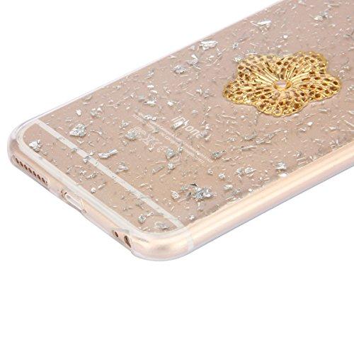 iPhone 6 Plus Hülle,iPhone 6s Plus Case,iPhone 6 Plus Bling Case - Felfy Ultradünne Transparent Gel TPU Silikon Diamond Skin Bling Glitte Kristall Schutzfolie Glitzer Silber Silikon Crystal Case Durch Silber Case Pfirsiche