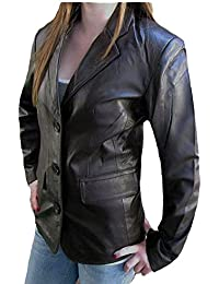 1403 Bangla Hochwertige Damen Lederjacke Business Blazer Dunkelbraun S M L XL