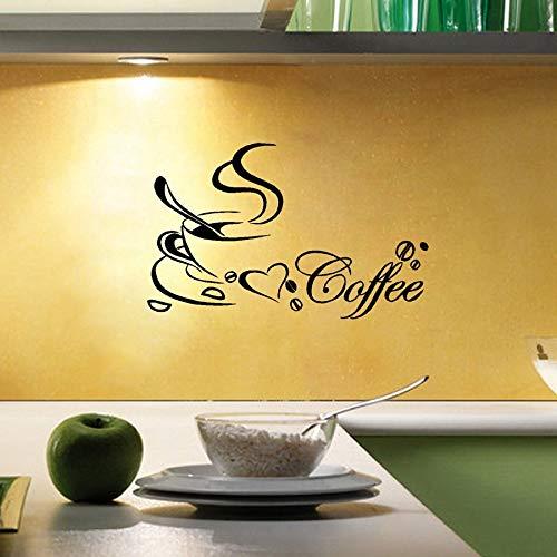 Kaffeetasse Vinyl Wandaufkleber, Kaffee Wandkunst Aufkleber Für Home Kitchen und Café Dekoration 58X40CM